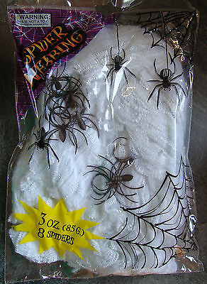 CHEAP Halloween Large spiders Web & 8 spiders Spooky Party Scene Prop Decoration (Cheap Halloween Spider Webs)
