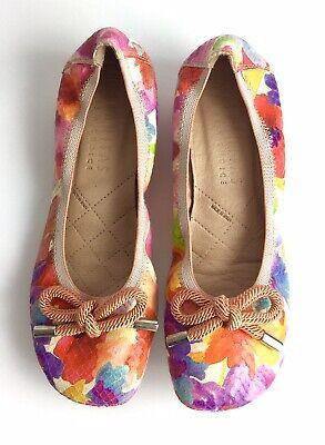 HISPANITAS 'glove' multi floral print leather ballerinas flats UK 4.5 EU 37.5