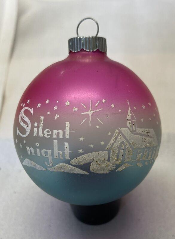 "Vintage SHINY BRITE ""Silent Night"" Christmas Ornament Pink/Blue , White Snow"