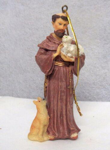 "St Francis Christmas Ornament Resin 4"" Patron Saint of Animals Dog & Cat"