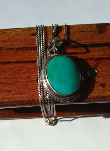 Vintage Native American Southwestern Sterling Silver Turquoise Pendant Necklace
