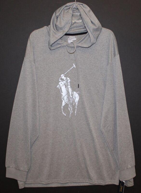 Polo Ralph Lauren Big Tall Mens Gray Silver Pony Hoodie L/S