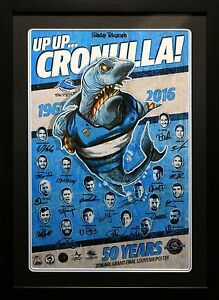 CRONULLA SHARKS PREMIERS 2016 GRAND FINAL SIGNED FRAMED MEMORABILIA POSTER