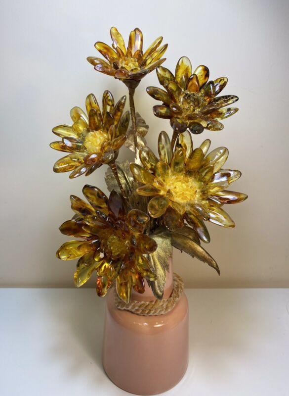 Natural baltic amber flower vase