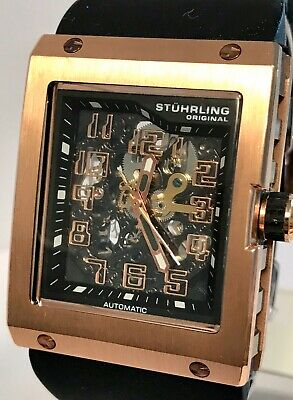 Stuhrling Centurion Floating Numerals Skelenotized Rose-tone Auto Mens Watch