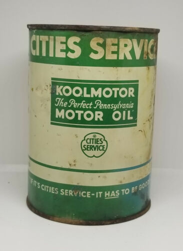 1930s CITIES SERVICE KOOLMOTOR PERFECT PENNSLYVANIA ONE QUART MOTOR OIL CAN