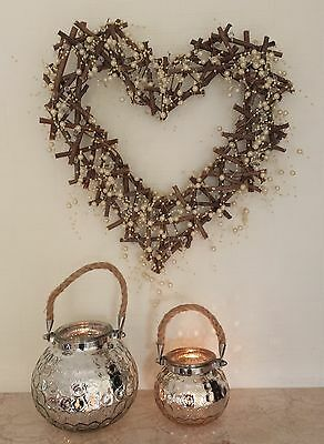 35cm Twig Heart Wreath Wall Door Decorations Wedding Christmas Pearl Country