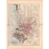 MALTE-BRUN 1890's Antique Map / Detailed City Plan of Marseille, France