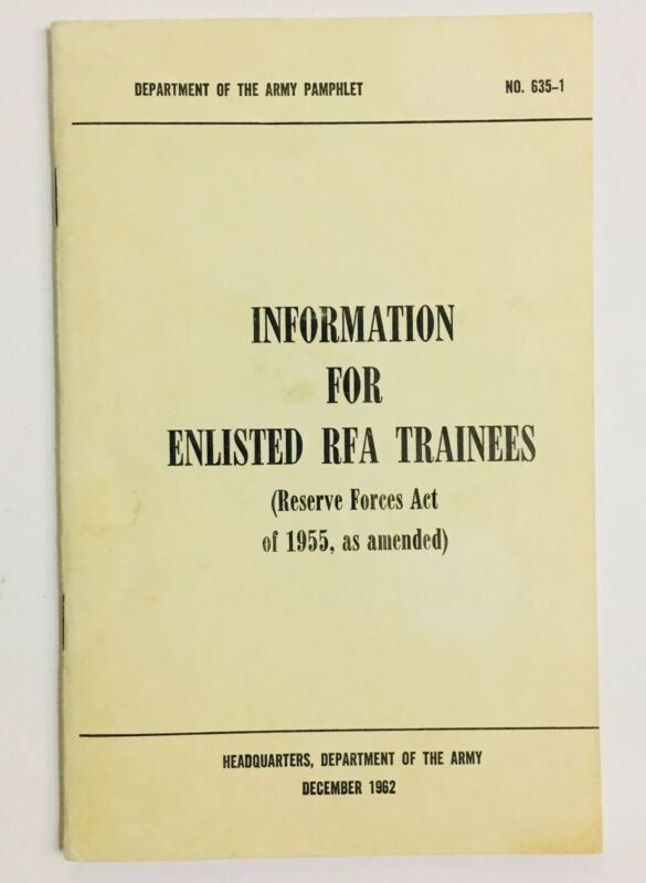 Vintage Department Of The US Army Pamphlet Information For Enlisted RFA Trainees