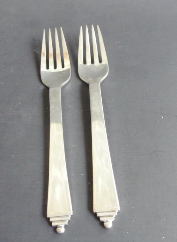 Two Georg Jensen Sterling Silver Pyramid Forks Old Mark