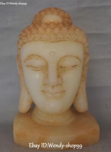 """11"""" China Old Jade Shakyamuni Sakyamuni Amitabha Tathagata Buddha Head Statue"""