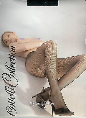 EFFEKT  Netzstrumpfhose, Goldlurex-Naht, schwarz, 42-44  *Cottelli Collection*