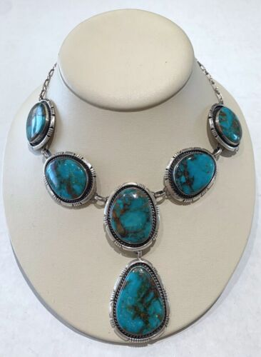 Navajo Royston Turquoise and Sterling Silver 6 Stone Necklace