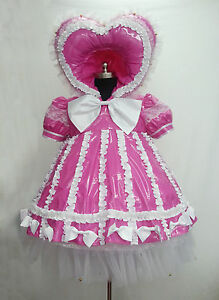 Pink-sissy-baby-dress-PVC-FRILLY-TV-MAID-PUFF-GOTH-GAY-FETISH-UK-LISTING