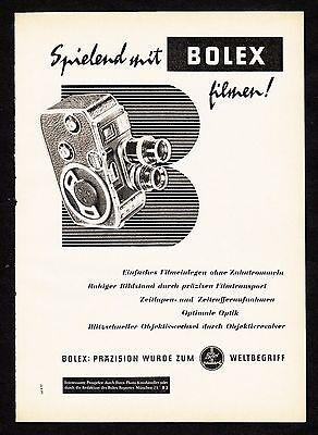 3w1355/ Alte Reklame von 1956 - Spielend mit BOLEX filmen !