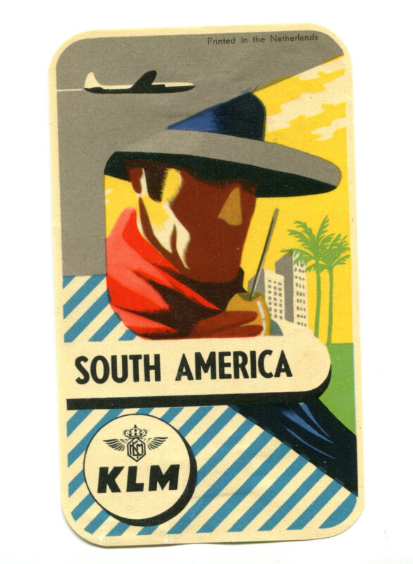 Vintage Airline Luggage Label KLM SOUTH AMERICA  Royal Dutch Airlines