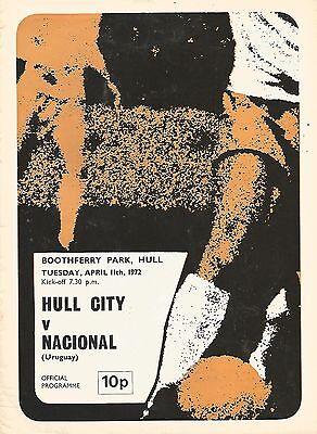 Football Programme - Hull City v Nacional (Uruguay) - Friendly - 11/4/1972