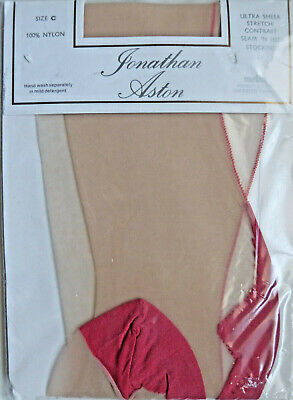 Jonathan Aston Large Size Classic Contrast Seamed Stockings Red Seam