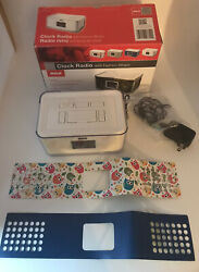 RCA Dual Alarm Clock Radio with Multicolor Fashion Wraps USB Charger Port