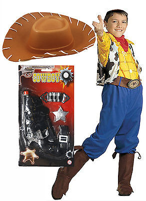 Boys Kids Childs Woody Toy Story Billy Cowboy Fancy Dress Costume Outfit Hat Gun