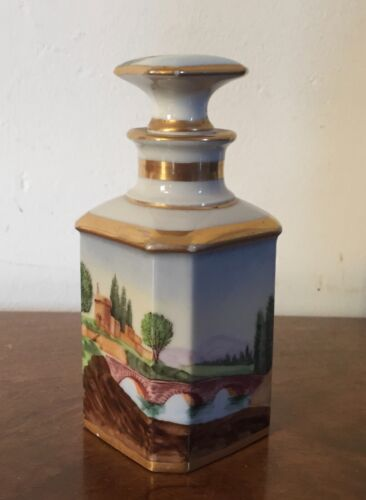 Antique 19th c. Old Paris Porcelain Scent Bottle Perfume Landscape Painting
