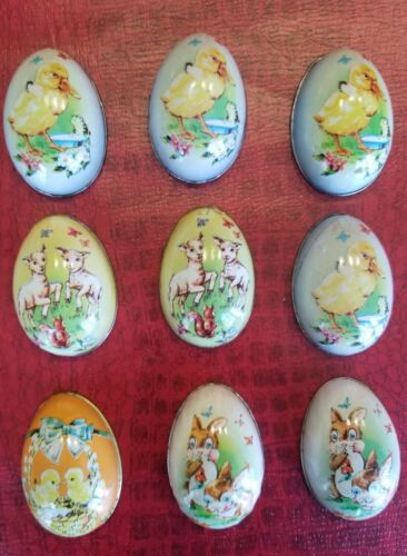 Lot of 9 Vintage Murray Allen Tin Lithograph Easter Egg Candy Containers Metal