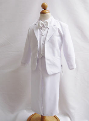 Boys White Tuxedo suit Satin trim wedding Christmas Holiday Bow tie vest pants