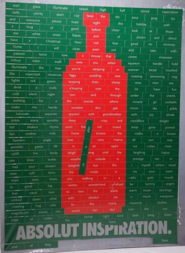 Absolut Vodka Absolut Inspiration Green and Red Holiday Words Fridge Magnets Set