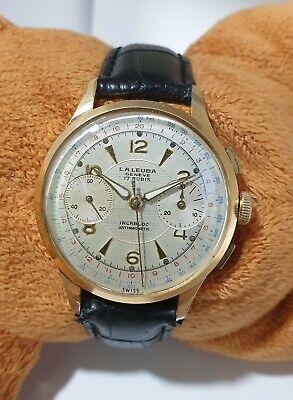 L.A LEUBA chronograph REF 507 CAL VENUS 188 MEN'S VINTAGE WATCH 35.5mm.serviced