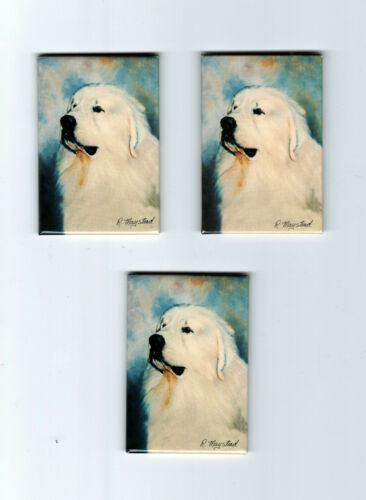 New Great Pyrenees Magnet Set 3 Magnets By Ruth Maystead MFR # GPY-2