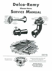 DELCO REMY KLAXON HORNS SERVICE MANUAL