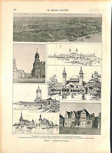 """Great Industrial Exposition of Berlin GERMANY DEUTSCHLAND GRAVURE 1896 - France - The Great Industrial Exposition of Berlin 1896 (German Groe Berliner Gewerbeausstellung 1896) was a large exposition that has also been dubbed """"the impeded world fair"""" (in German """"Die verhinderte Weltausstellung""""). Under the official name of a Be - France"""