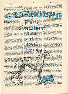Greyhound Dog Traits Altered Art Print Upcycled Vintage Dictionary Page Print