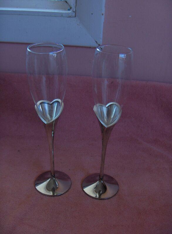 Lenox Crystal Wine Flutes Silver Plate Heart Stems Anniversary Wedding Birthday