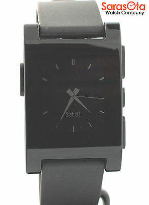 Pebble 301BL Digital Rectangle Black Rubber Iphone & Android Smart Watch