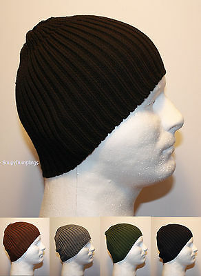 FITTED RIBBED KNIT WINTER BEANIE HAT CAP - BLACK BROWN GRAY GREEN NAVY BLUE K2 -