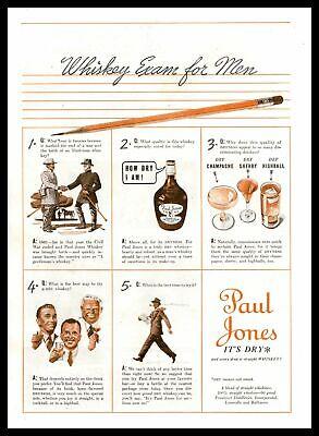 """1938 Paul Jones A Blend Of Straight Whiskies """"Whiskey Exam For Men"""" Print Ad"""