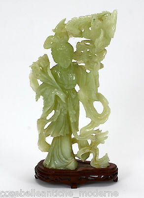 Large Antique Statue in Jade '900 Chinese Qing Period Ancient Old Jade Sculpture