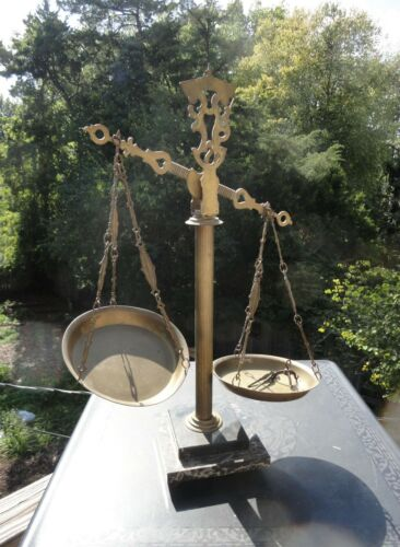 Antique Brass and Marble Apothecary or Scale of Justice