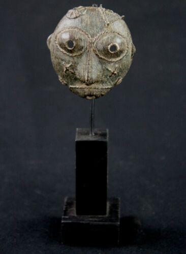 Art African - Antique Pasport Bronze Akan Billiards Ball Baoulé On Base - 17 CMS