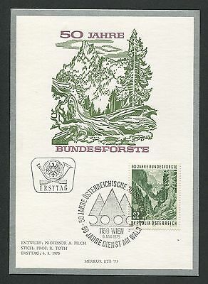 AUSTRIA MK 1975 BUNDESFORSTE WALD BAUM MAXIMUMKARTE MAXIMUM CARD MC CM c8988