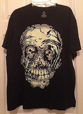 Plus Size Skeleton Shirt (T-Shirt W/Giant Skull Castle Glows In Dark Theatrical Costume Plus Size)