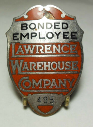 👮 Vtg. & Obsolete LAWRENCE WAREHOUSE Co. Employee Security pin Badge #495