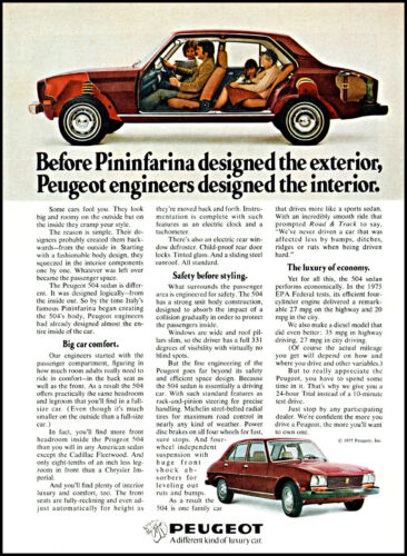 1975 Peugeot car automobile Pininfarina design vintage photo Print Ad ads26