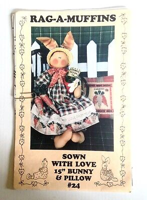 """Sown With Love 15"""" Bunny and Pillow Sewing Craft Pattern by Rag-A-Muffins #24"""
