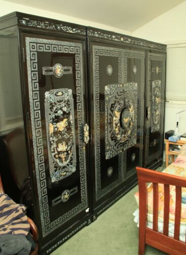 Korean Mother Of Pearl Inlay Armoire, 3 piece set