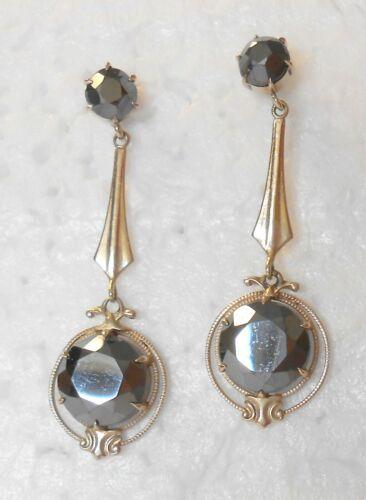 Fabulous Lrg Black Hematite Dangle Drop 14K White Gold Post Screw Earrings 37 mm