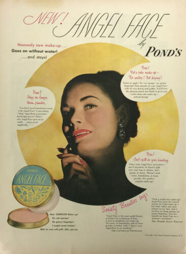 Ponds Angel Face Cosmetics Women Magazine Print Ad Vintage Make Up Beauty