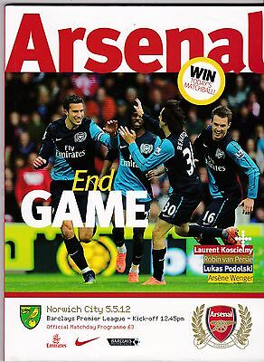ARSENAL V NORWICH CITY  PREMIER LGE  5/5/12