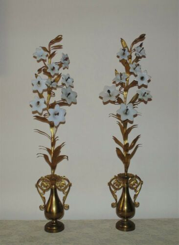 "Pair 32"" French Brass Mantle Garnitures with Milk Glass Lilies Flowers Floral Ur"